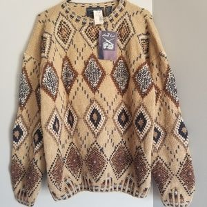 NWT Hand Knit vintage sweater Large argyle print